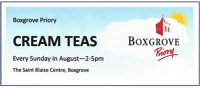 Cream Teas every Sunday in August in the St Blaise Centre
